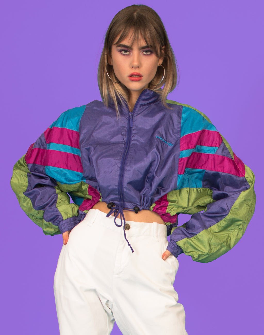 ADIDAS RAINBOW CROPPED WINDBREAKER