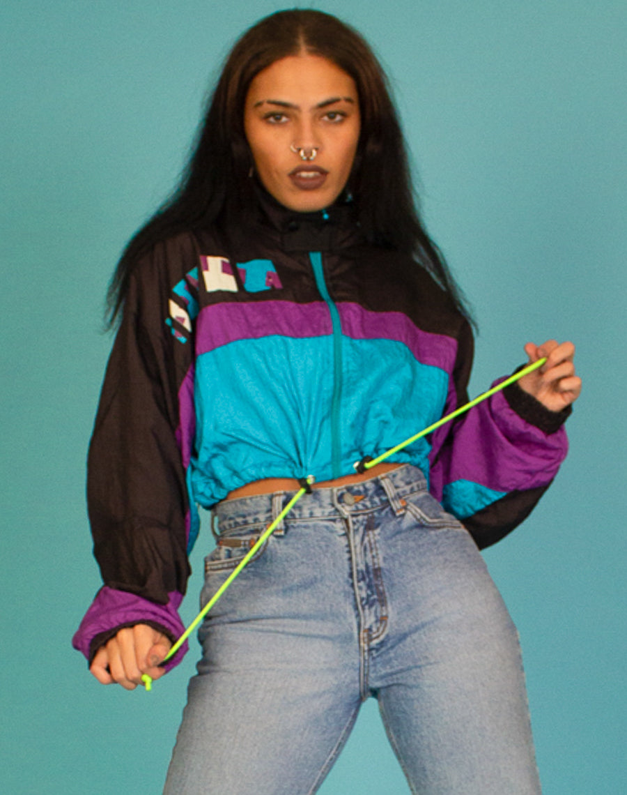COLOUR STRIPED CROPPED WINDBREAKER