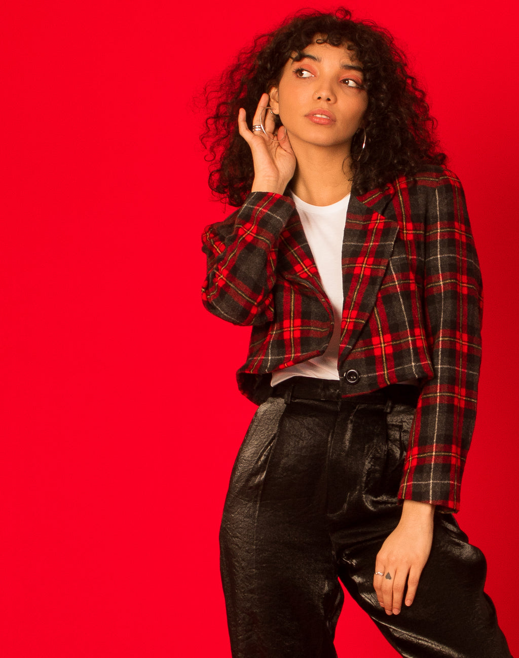 RED CHECKERED CROPPED BLAZER