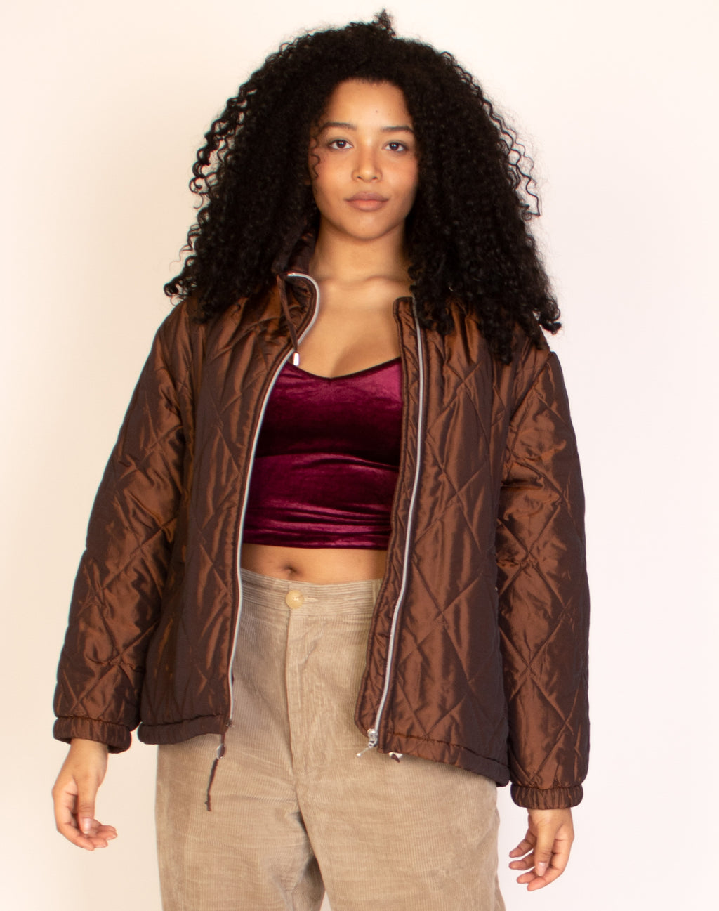 METALLIC BROWN PUFFER JACKET
