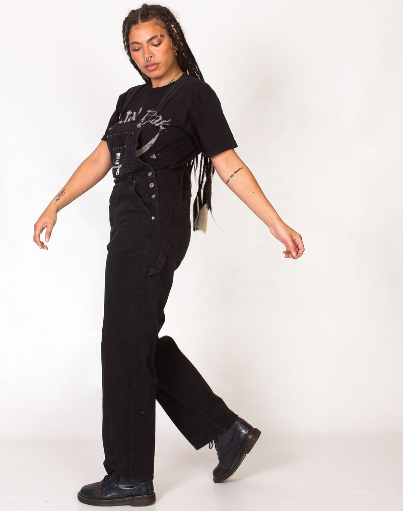 WASHED BLACK DENIM DUNGAREES
