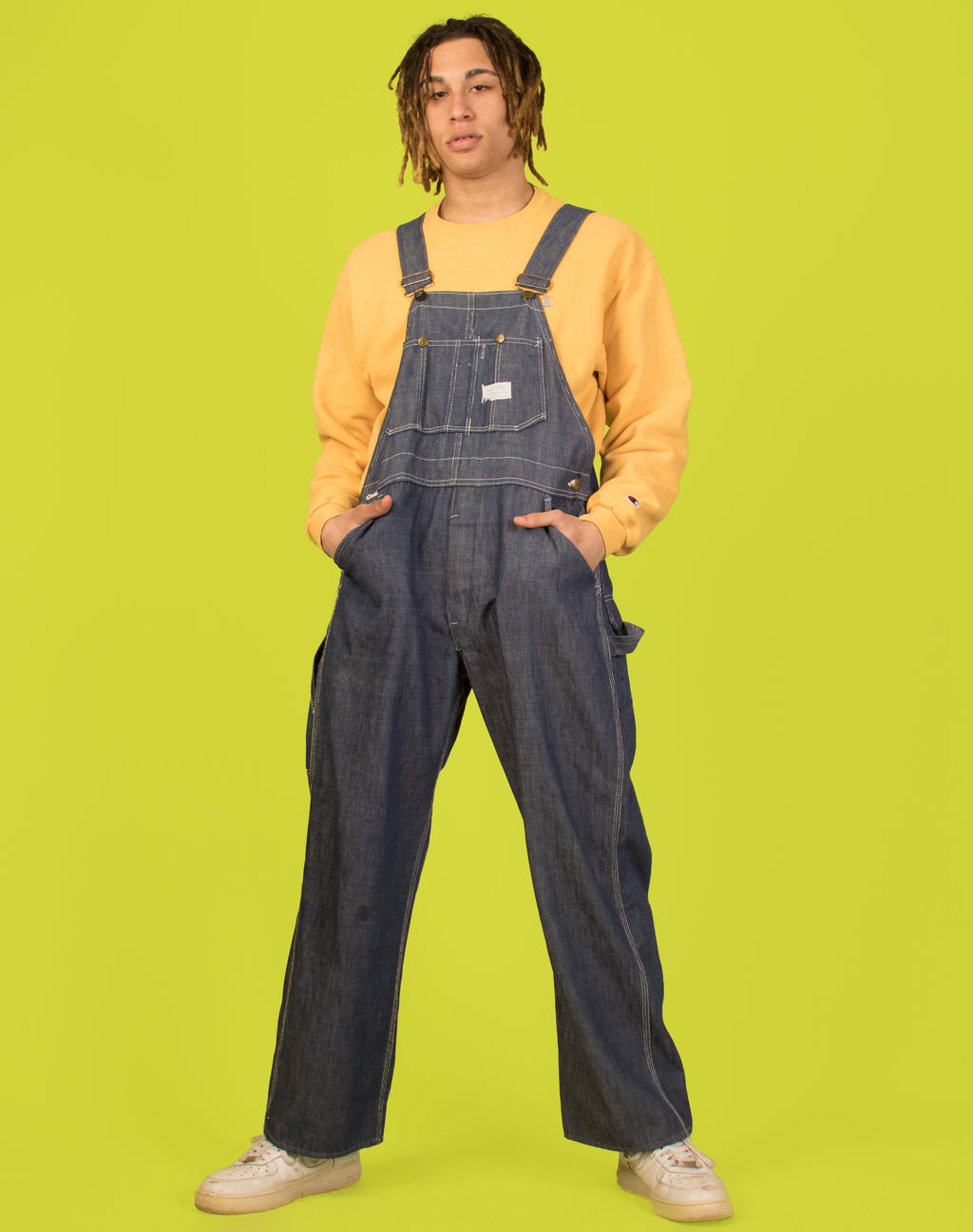 CONTRAST STITCH BLUE DUNGAREES