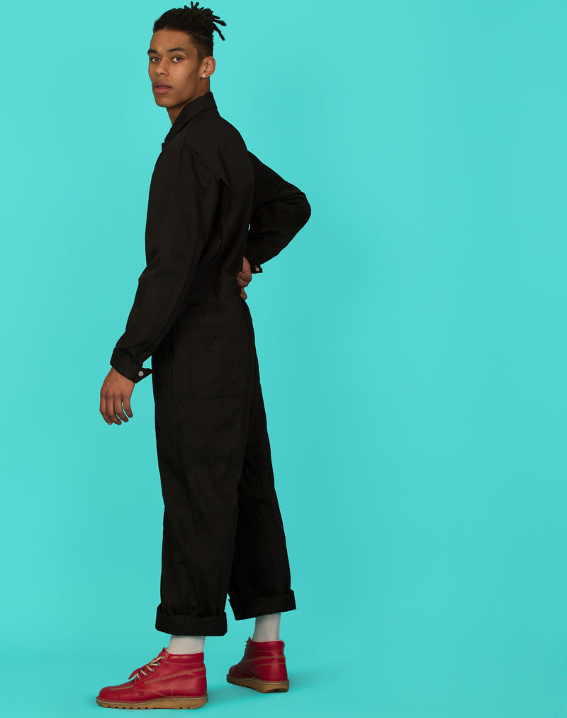 BLACK CANVAS BOILER SUIT