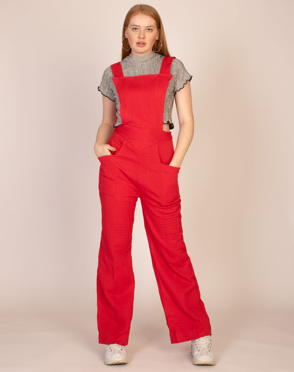 RED WAFFLE DUNGAREES