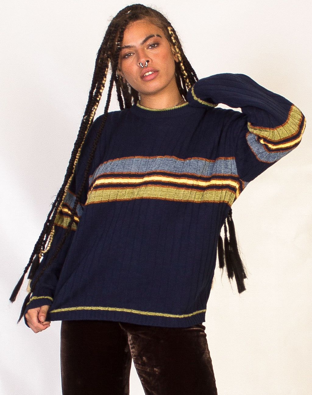 NAVY RIBBED STRIPE JUMPER