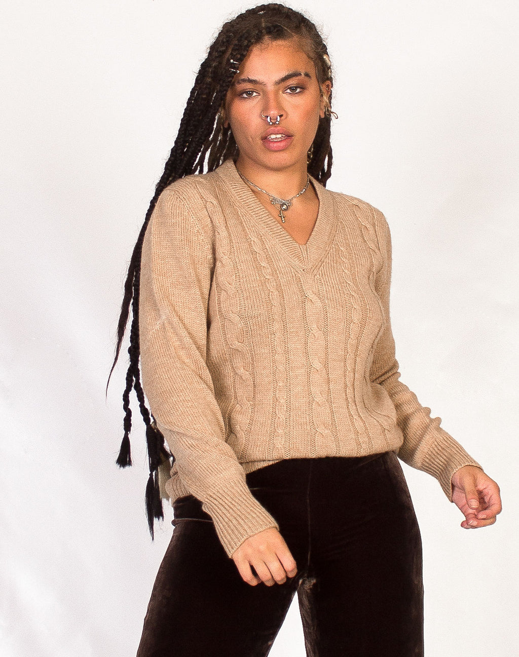 OATMEAL CABLE KNIT JUMPER