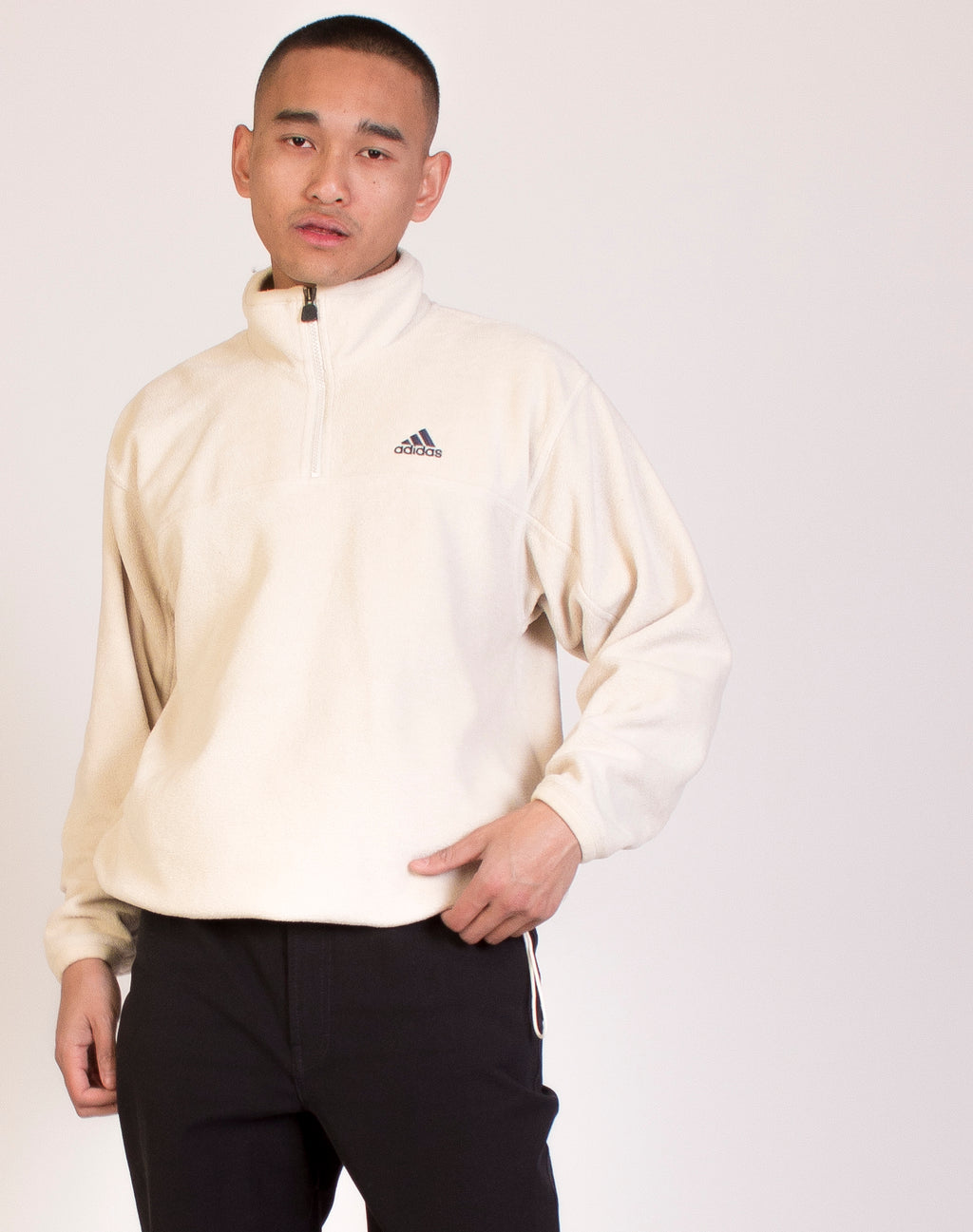 ADIDAS OFF WHITE FLEECE PULLOVER