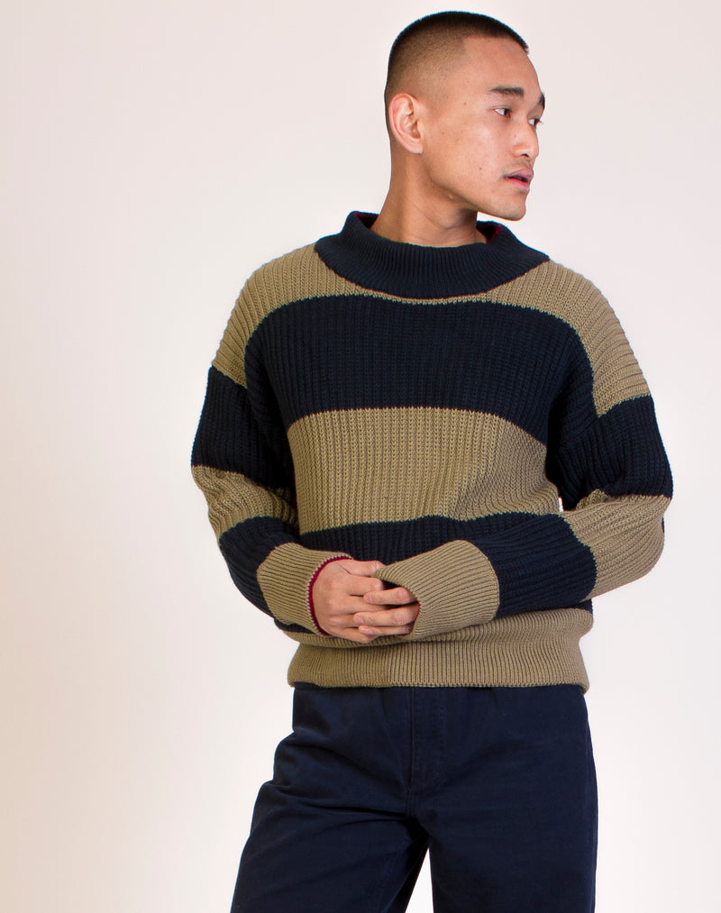 STRIPED CHUNKY KNIT SWEATSHIRT