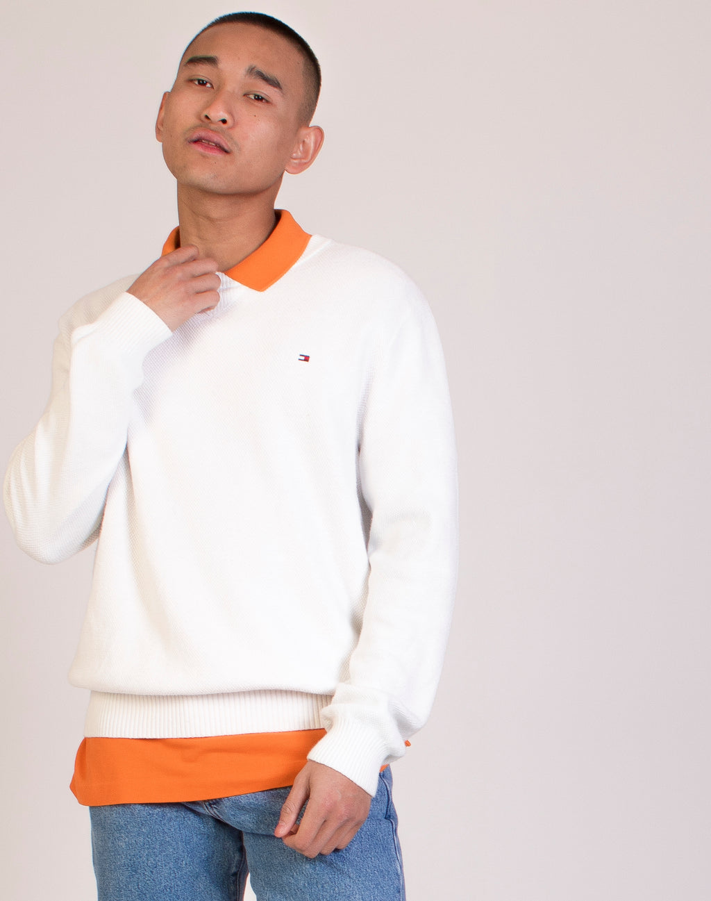 TOMMY HILFIGER WHITE KNITTED JUMPER