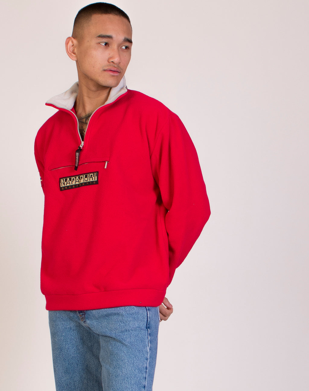 NAPAPIJRI RED FLEECE PULLOVER