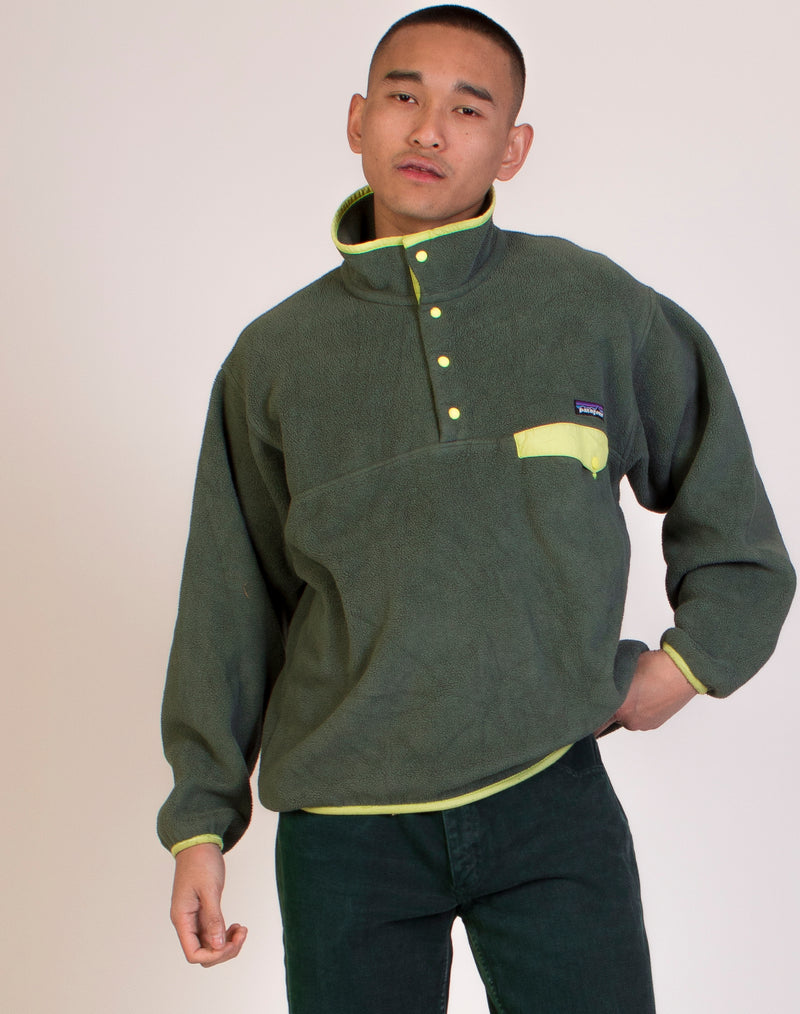 LL BEAN GREEN CROPPED FLEECE