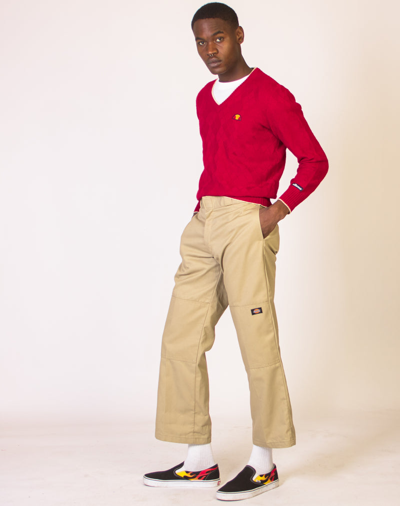 ELLESSE RED V NECK JUMPER