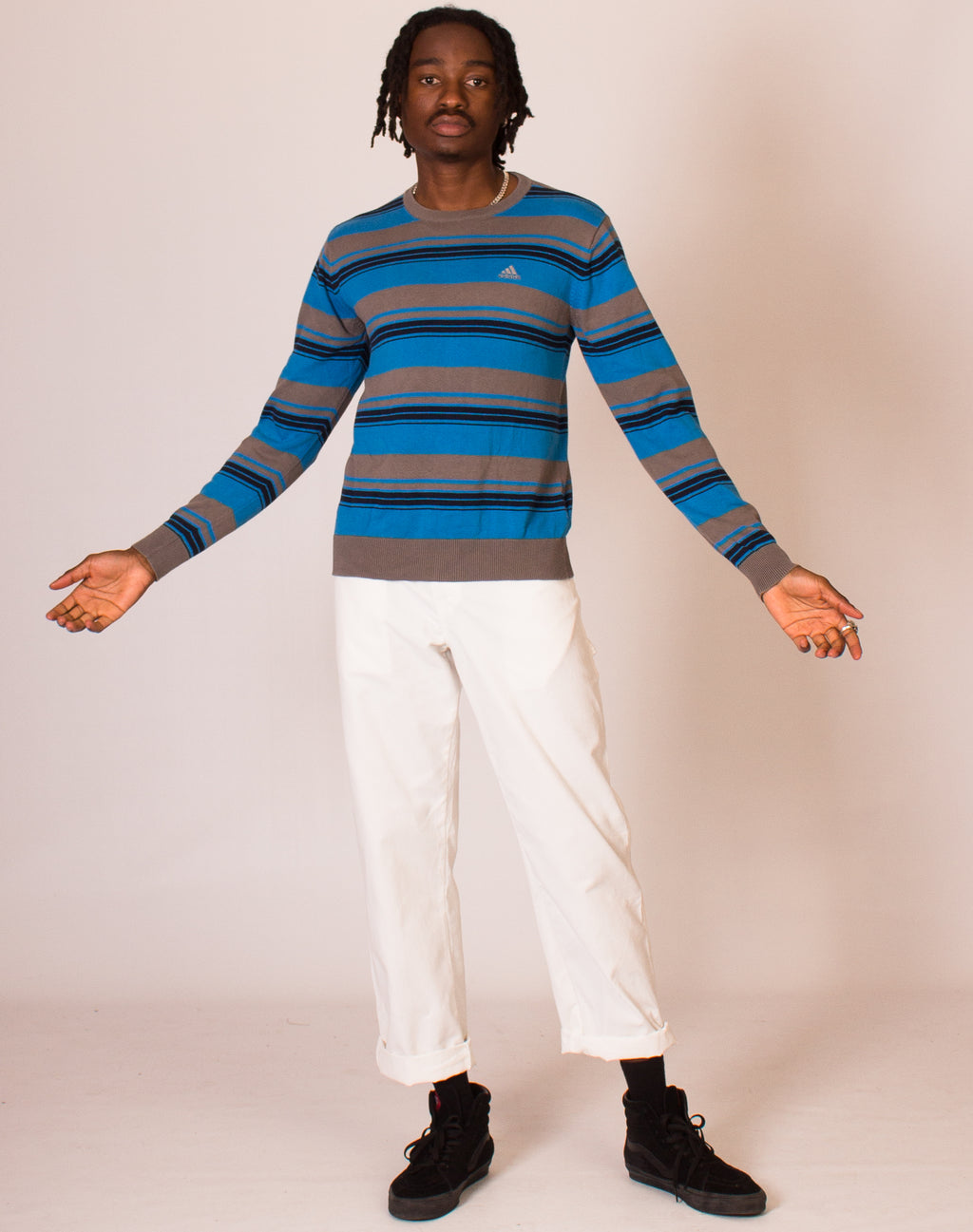 ADIDAS BLUE STRIPED JUMPER