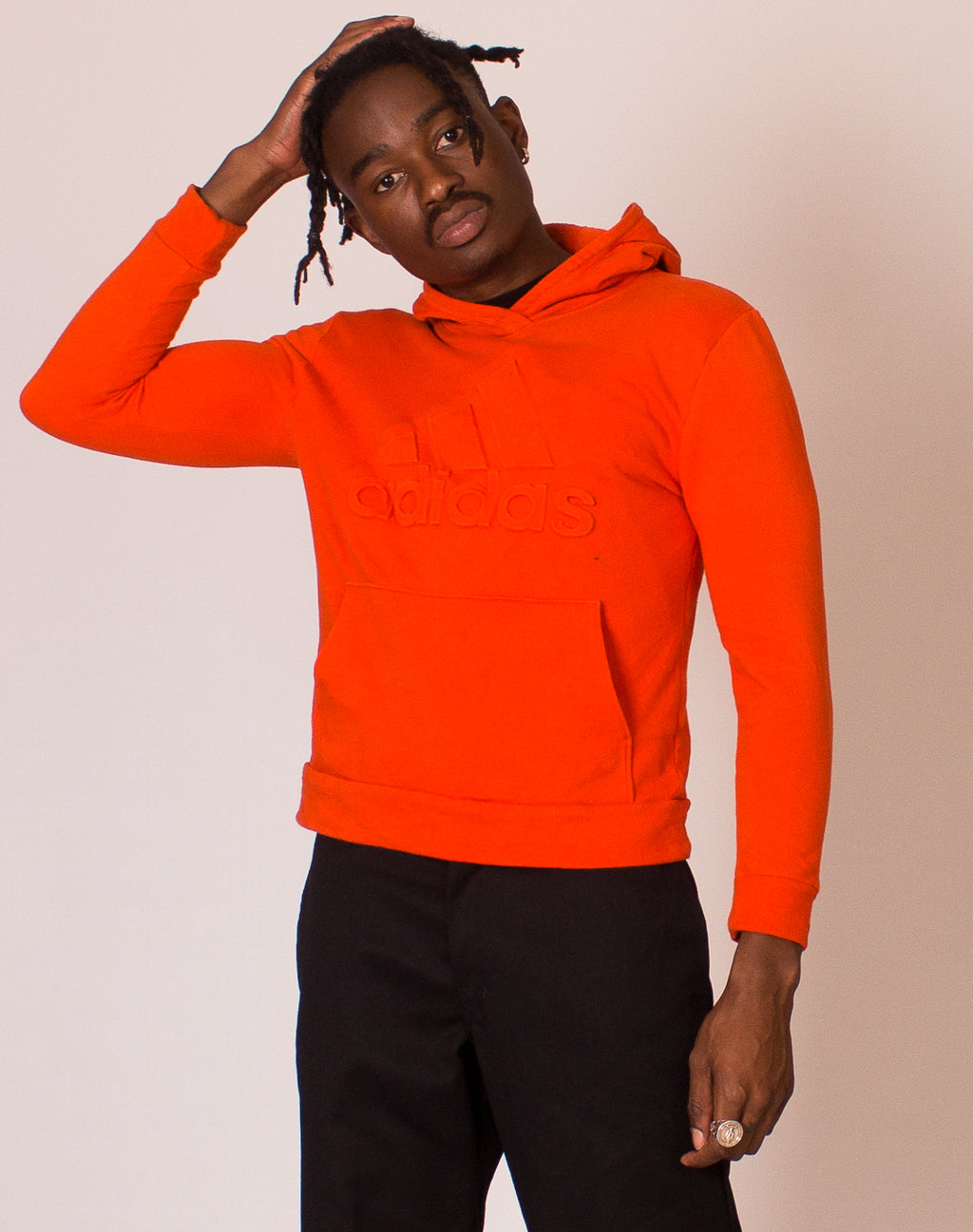 ADIDAS EMBOSSED LOGO ORANGE HOODY