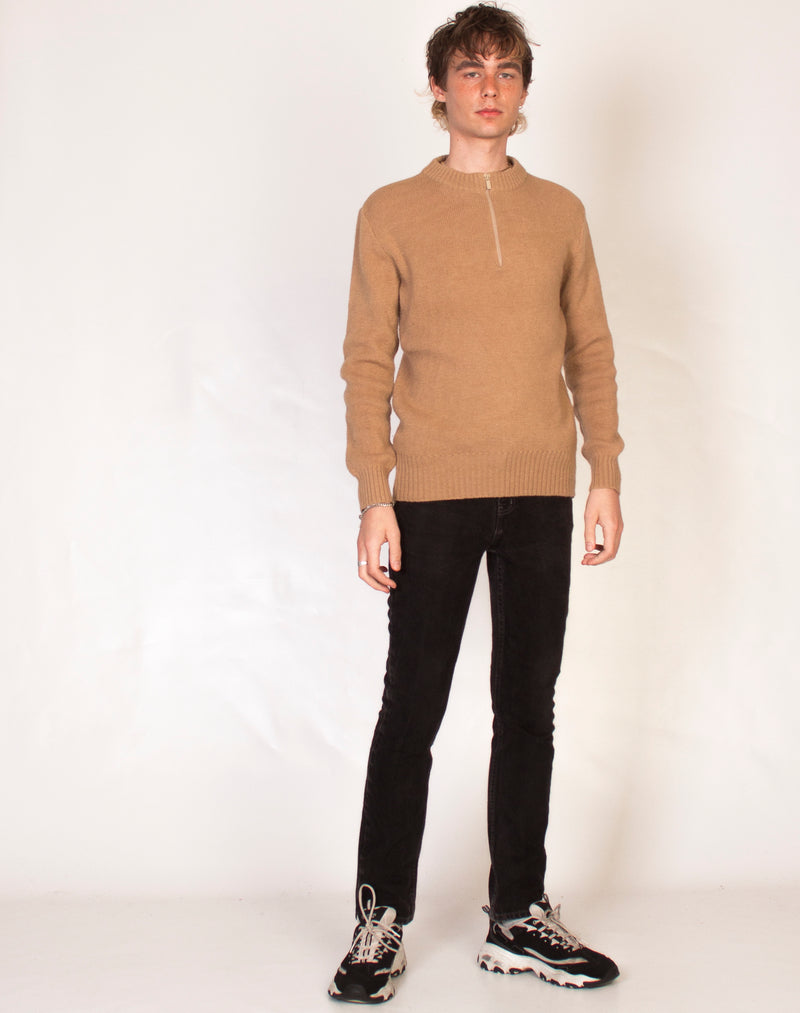 CAMEL KNITTED 1/4 ZIP PULLOVER