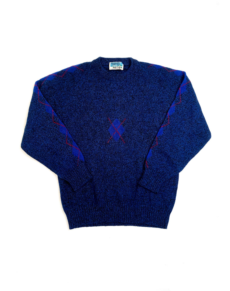 NAVY ARGYLE SLEEVE JUMPER