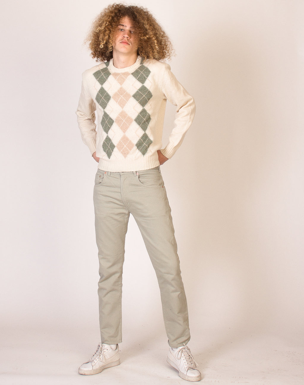 CREAM ARGYLE KNIT