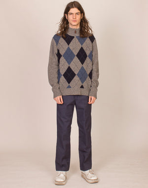 GREY AND BLUE ARGYLE PULLOVER