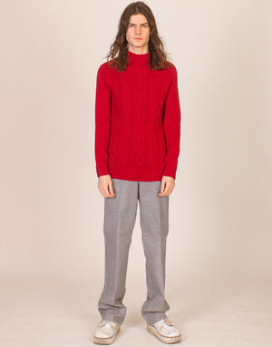 CHUNKY RED ARAN KNIT JUMPER