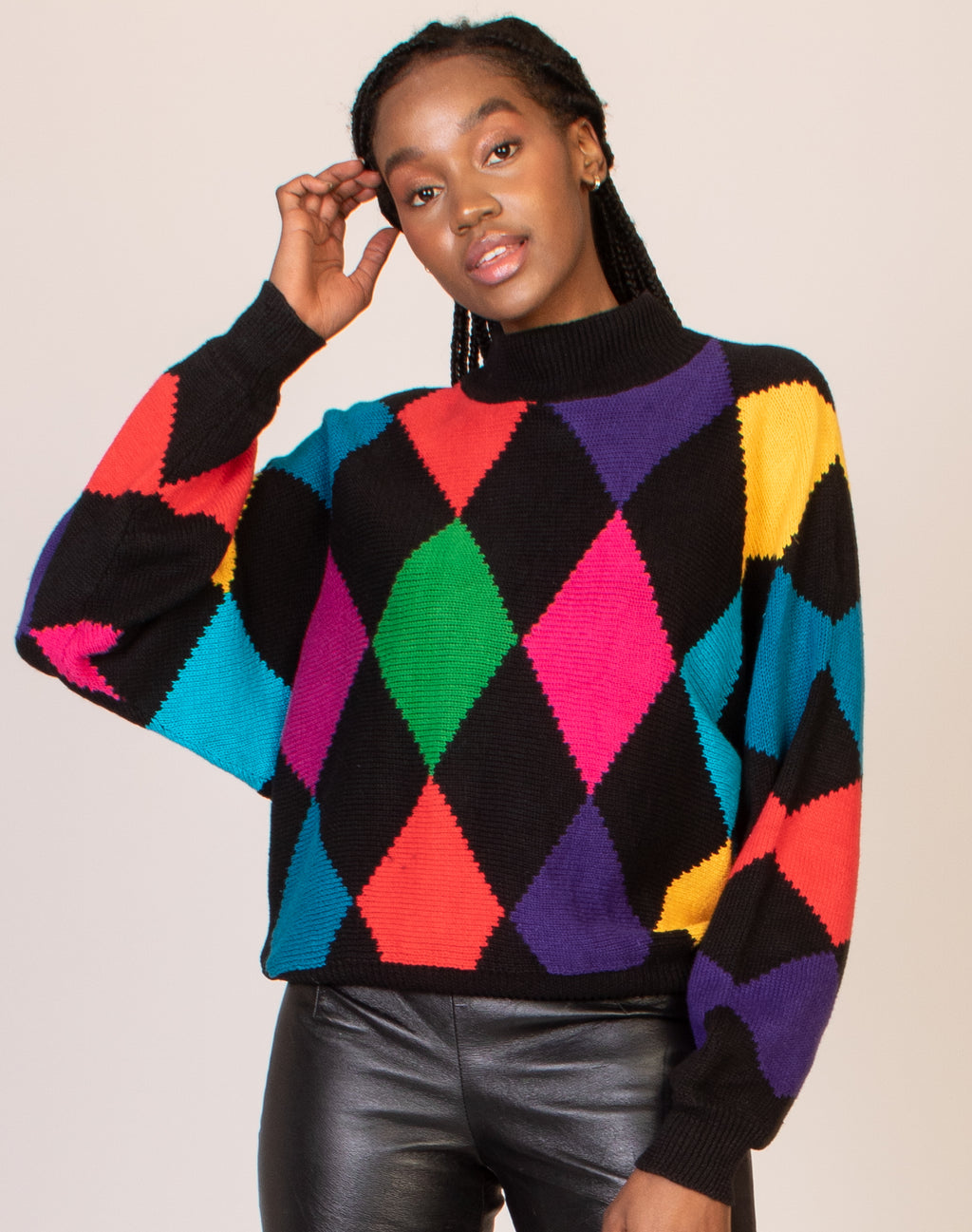 RAINBOW ARGYLE JUMPER