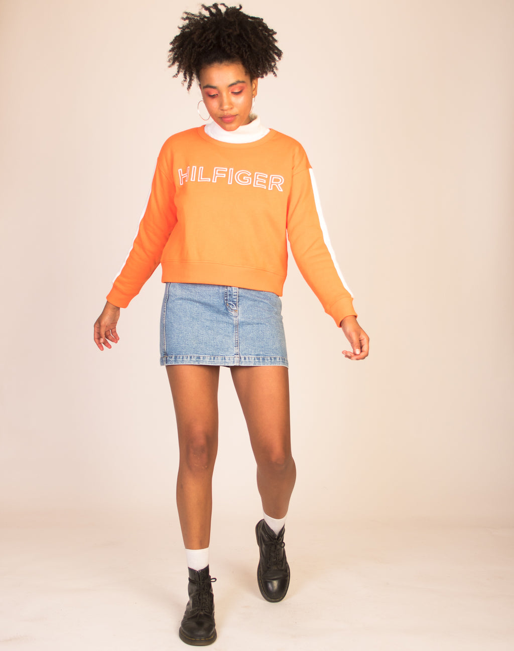 TOMMY HILFIGER NEON ORANGE SWEATSHIRT