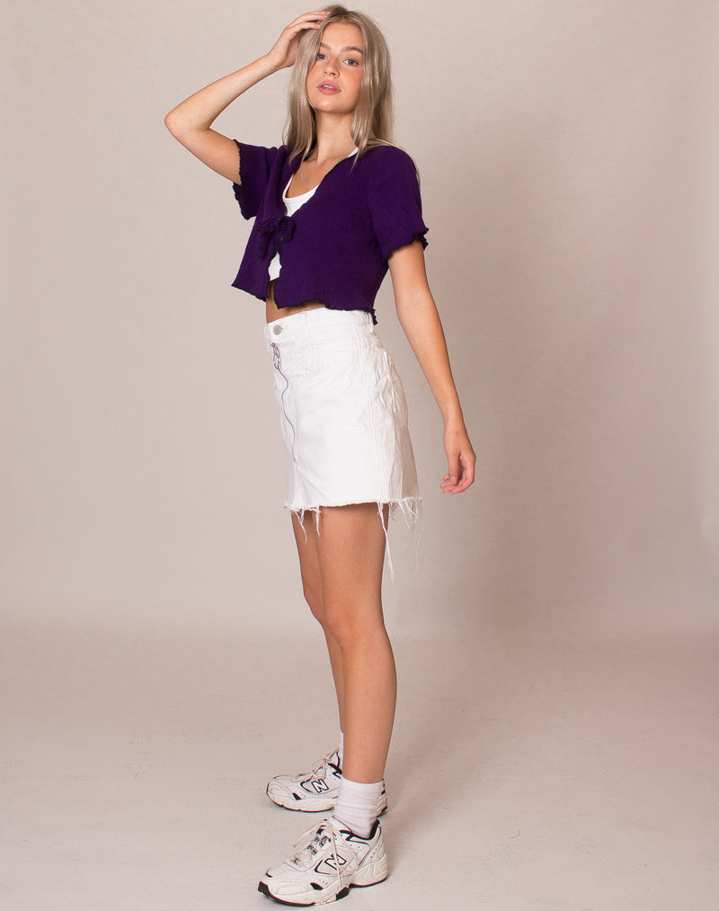 PURPLE CAP SLEEVE CROP CARDIGAN