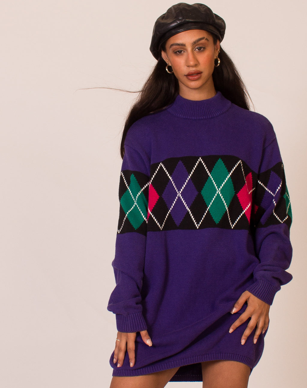 PURPLE ARGYLE SWEATER