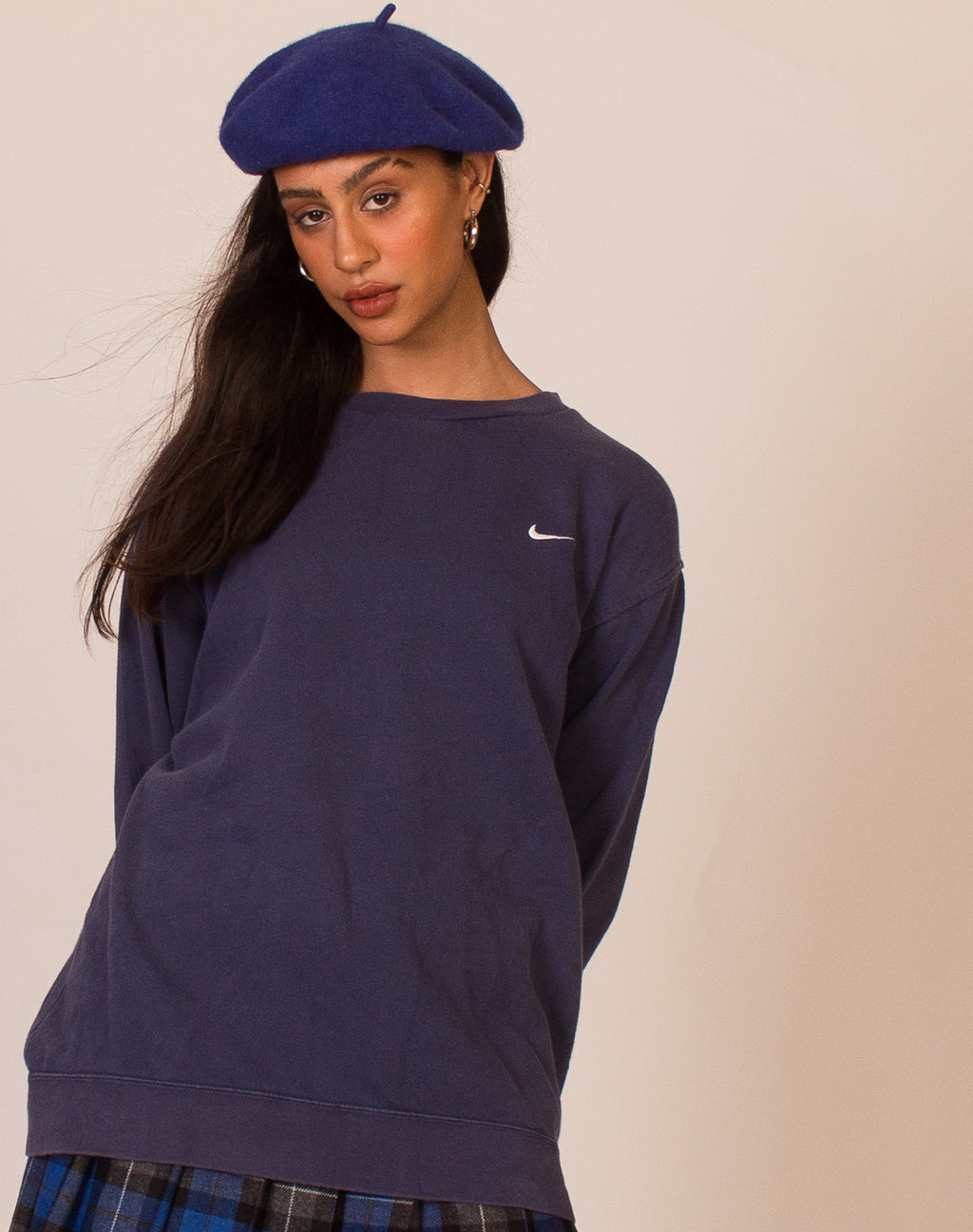 NIKE NAVY TICK SWEATSHIRT