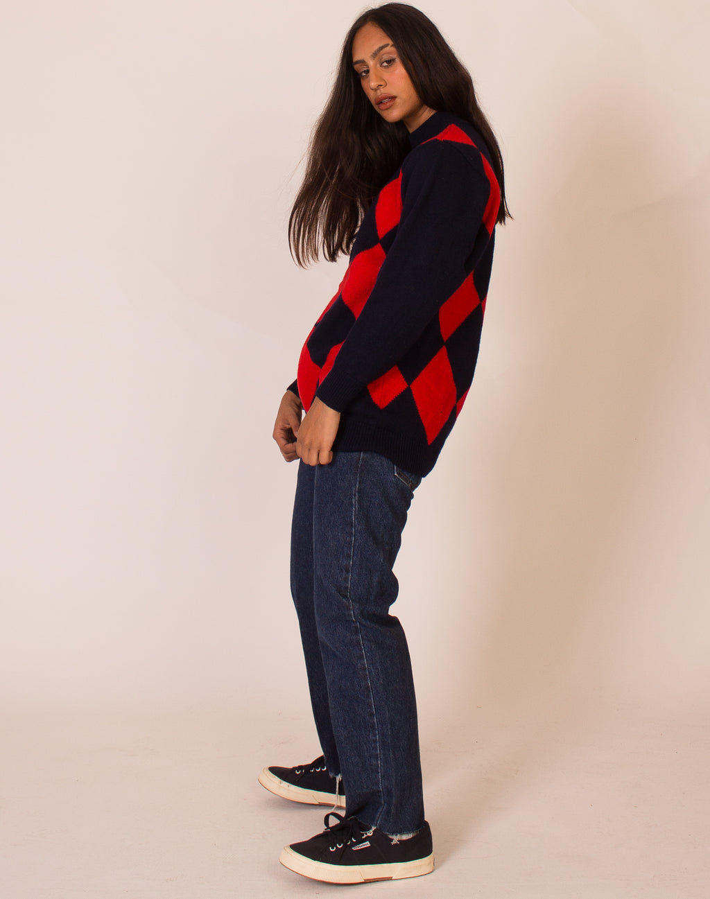 ARGLYE NAVY AND RED SWEATER
