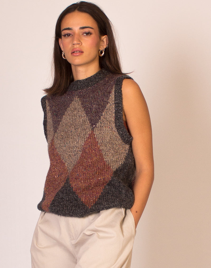 KNITTED ARGYLE SWEATER VEST