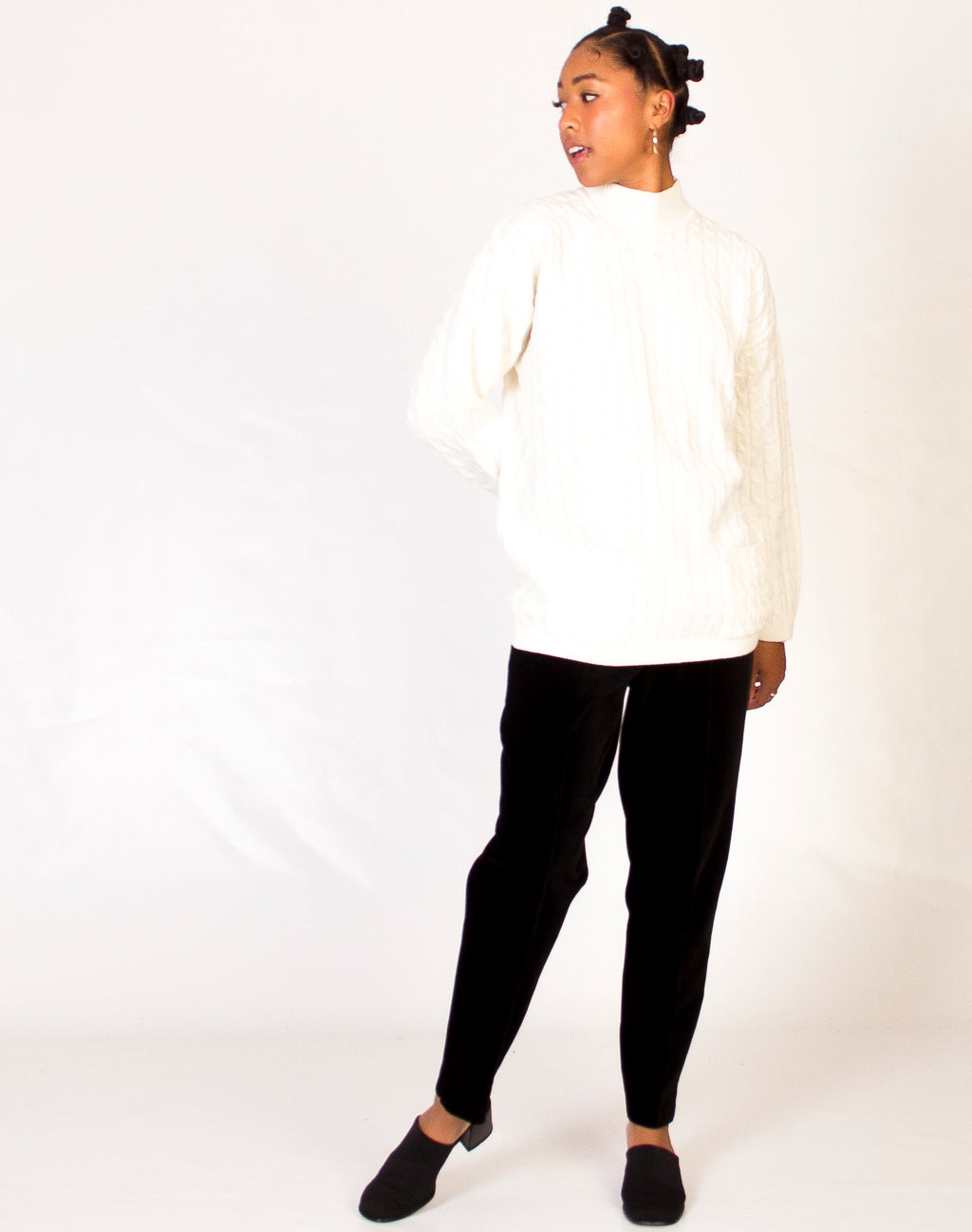 CREAM PEARL NECK JUMPER