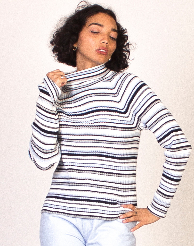 BABY BLUE STRIPE RIBBED TURTLE NECK