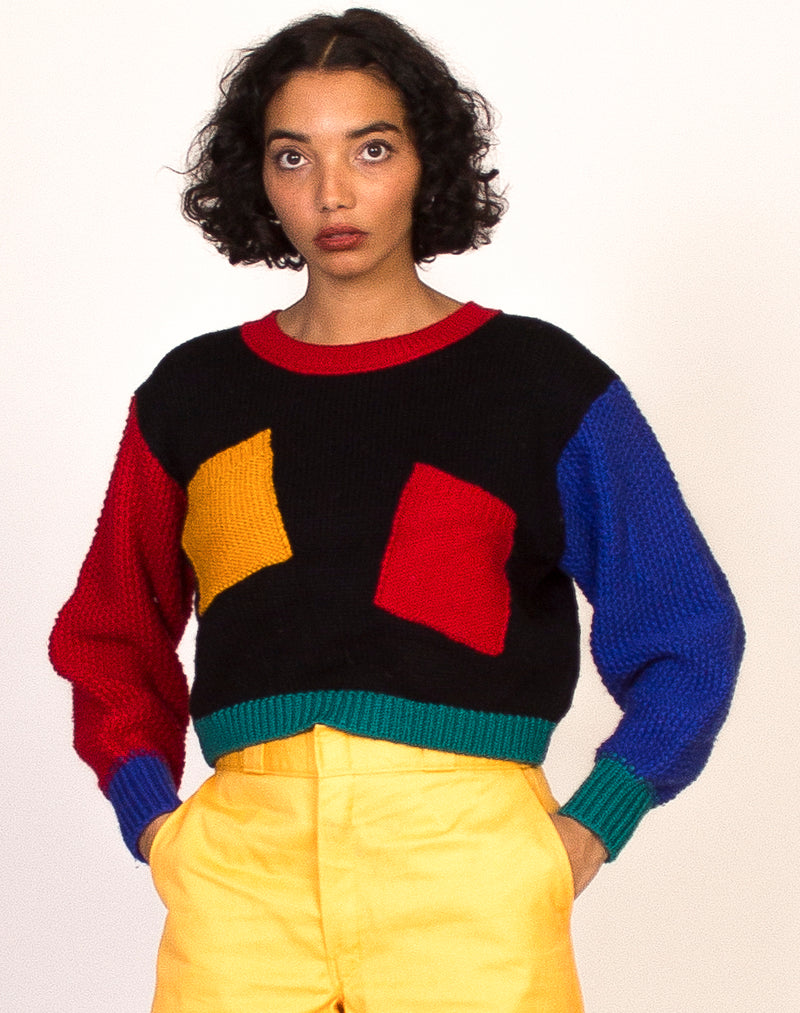 COLOUR BLOCK CROPPED KNITTED JUMPER