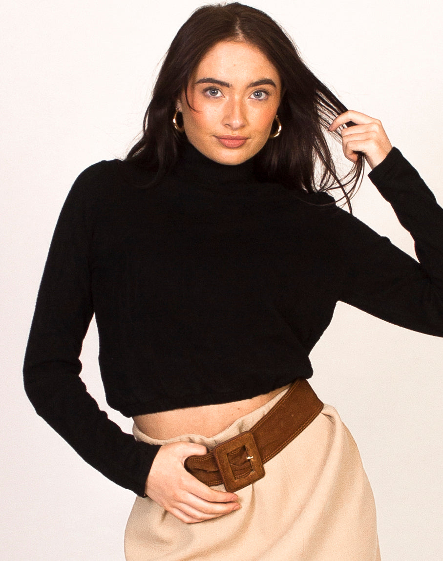 BLACK HIGH NECK CROPPED JUMPER