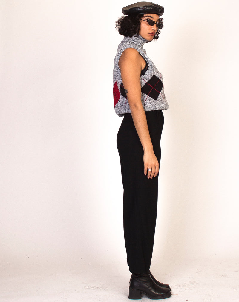 ARGYLE HIGH NECK GREY KNITTED SWEATER VEST