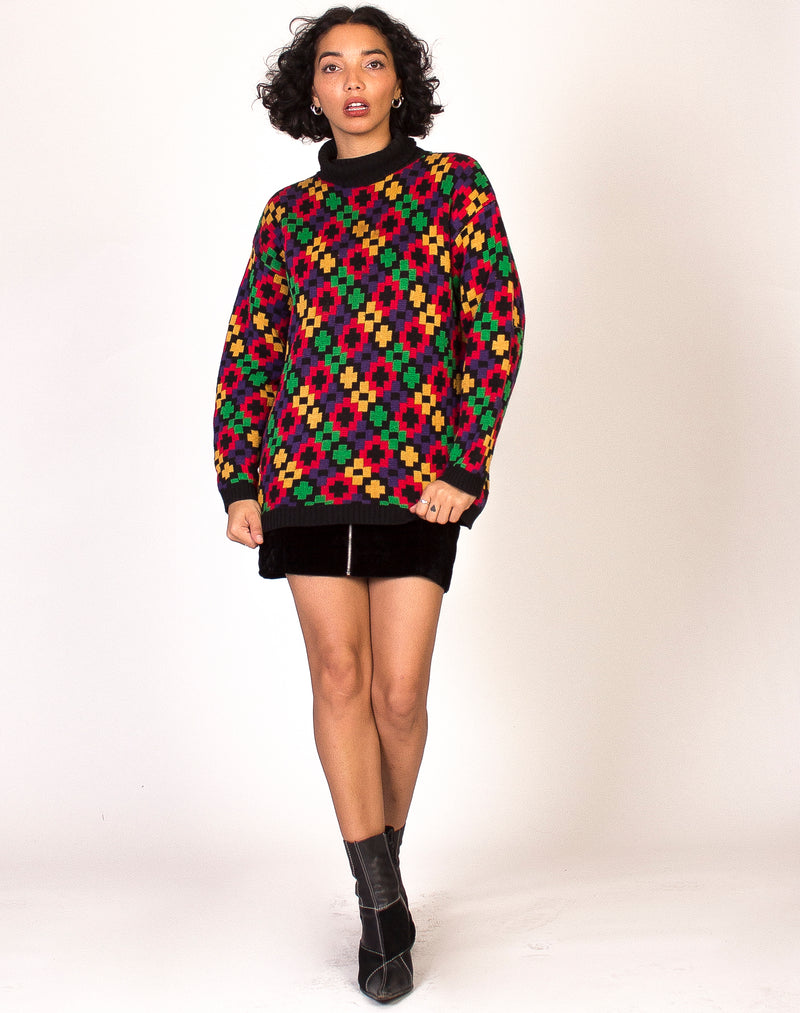HIGH NECK ABSTRACT PIXEL JUMPER