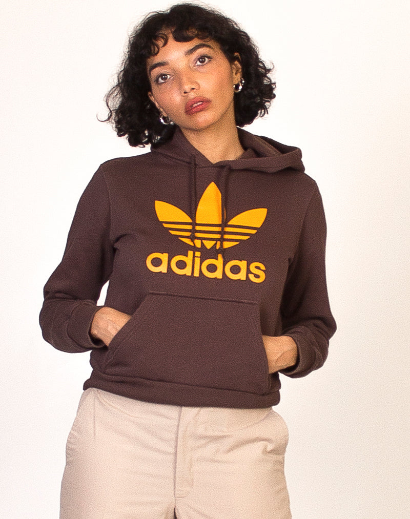 ADIDAS BROWN AND ORANGE TREFOIL HOODIE