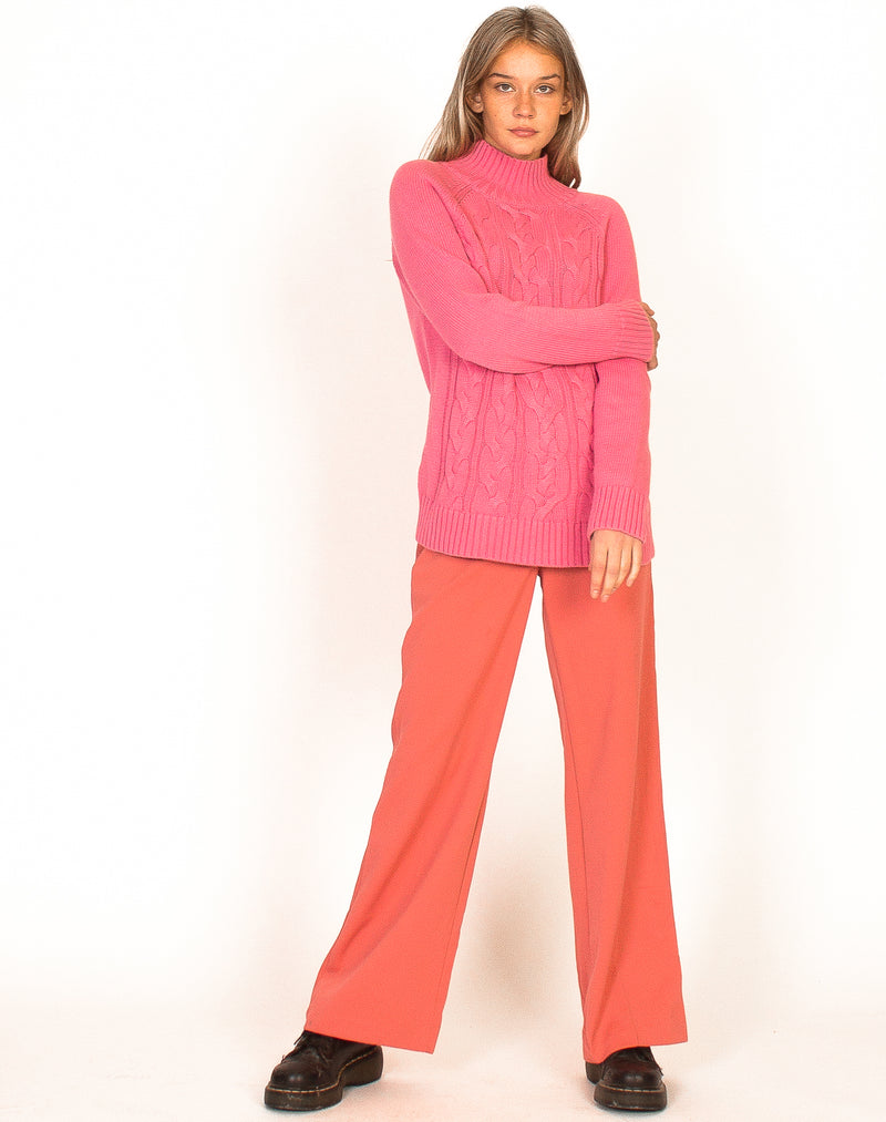 PINK ARAN KNIT HIGH NECK JUMPER