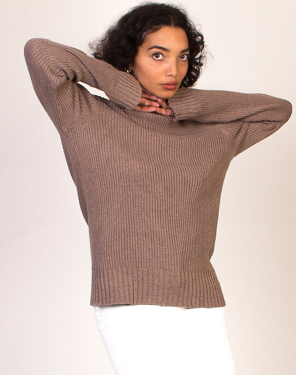 MOCHA BROWN RIBBED TURTLENECK