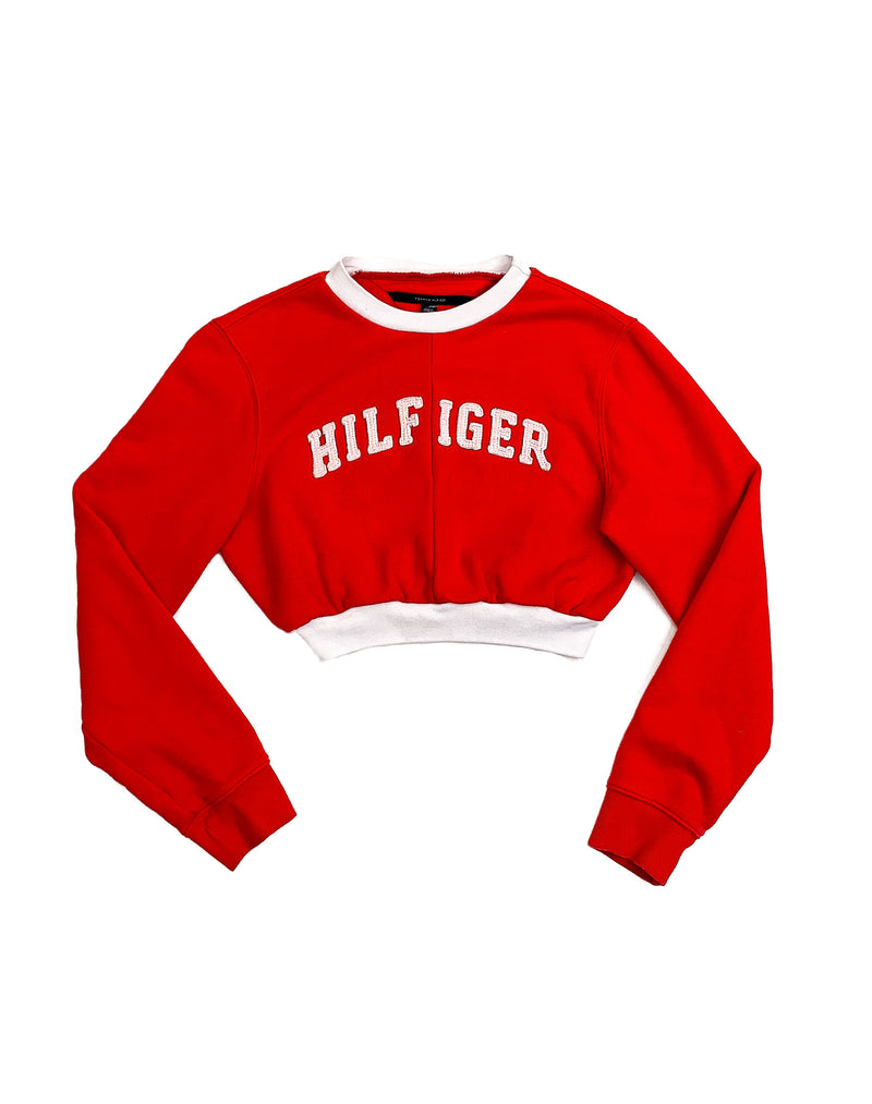 TOMMY HILFIGER RED CROPPED SWEATER