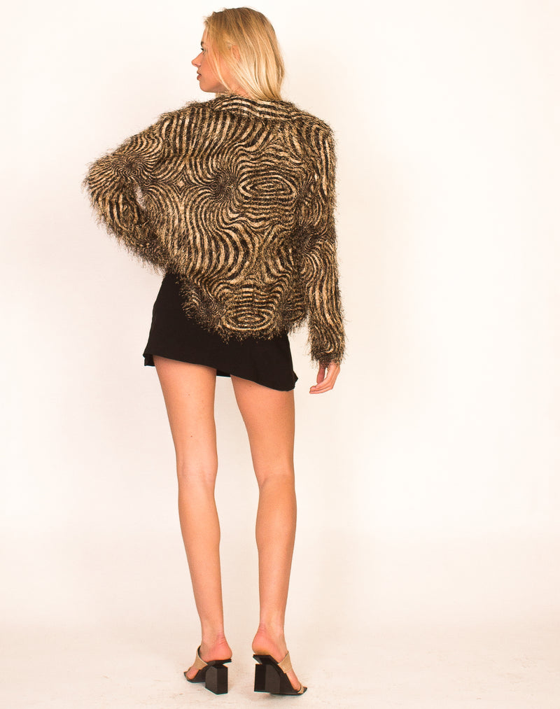 BLACK AND BEIGE PSYCHEDELIC CARDIGAN