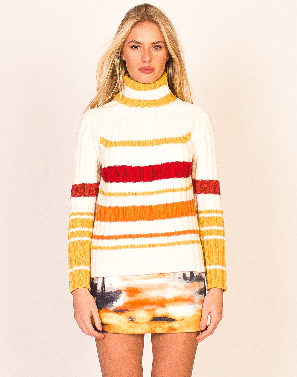 CHUNKY STRIPED KNITTED TURTLENECK