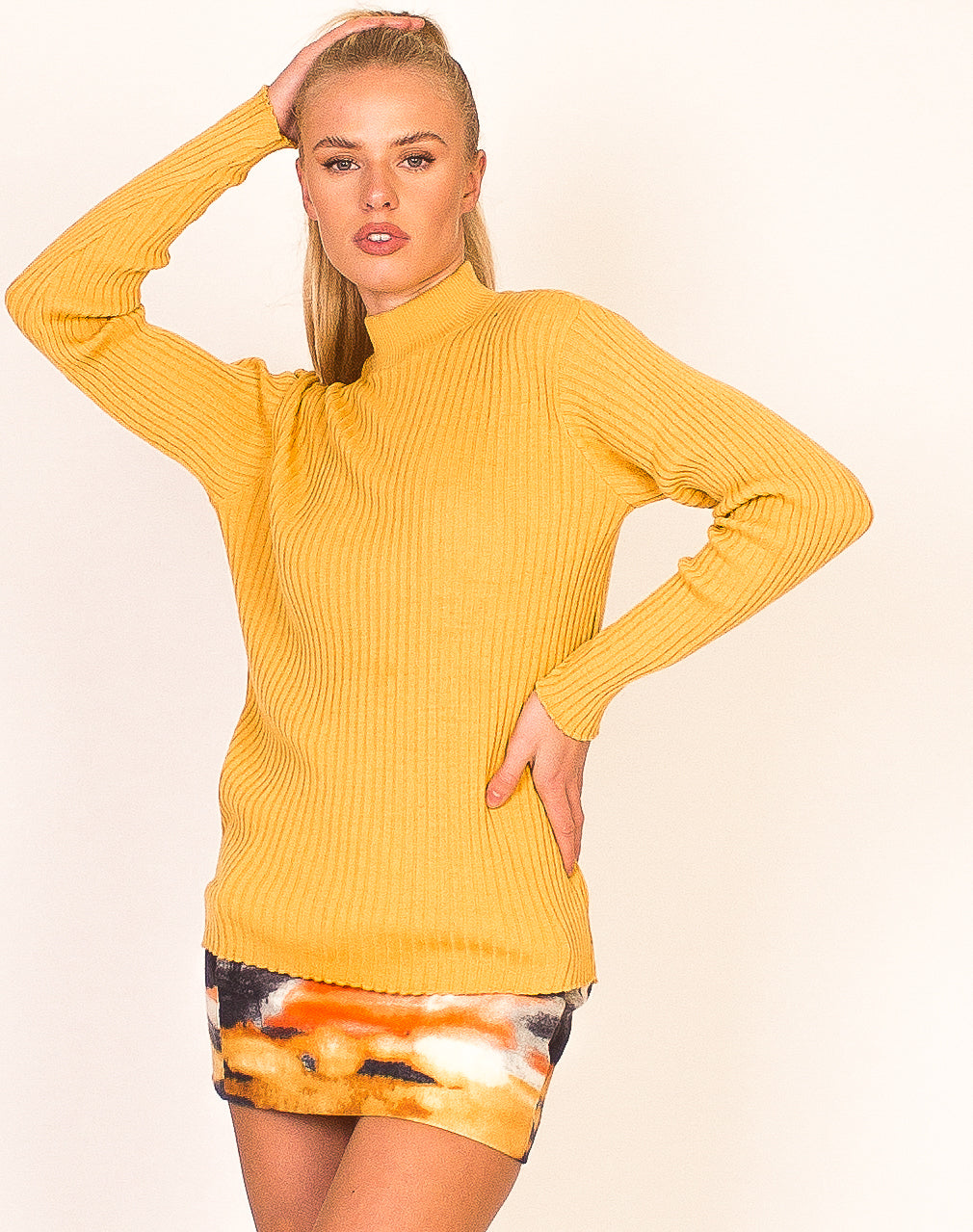 MUSTARD HIGH NECK SWEATER