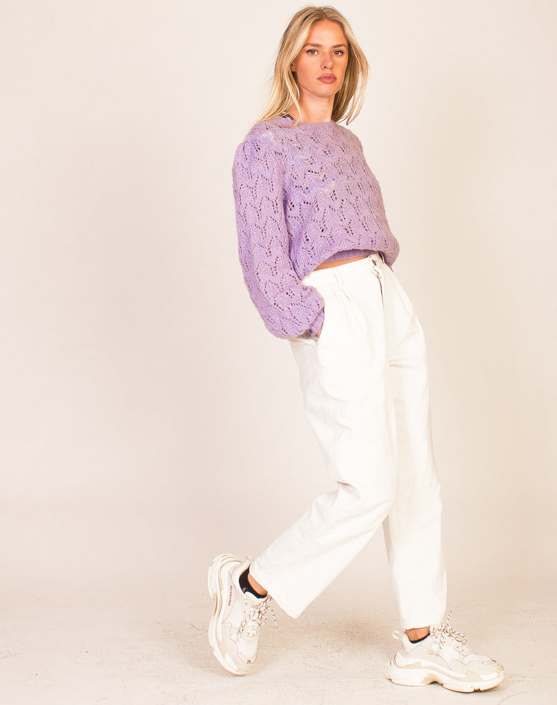 LILAC PUFF SLEEVE KNITTED SWEATER