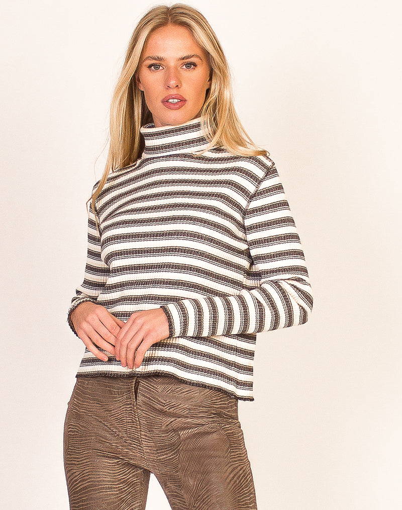 GREY AND CREAM STRIPED TURTLENECK SWEATER