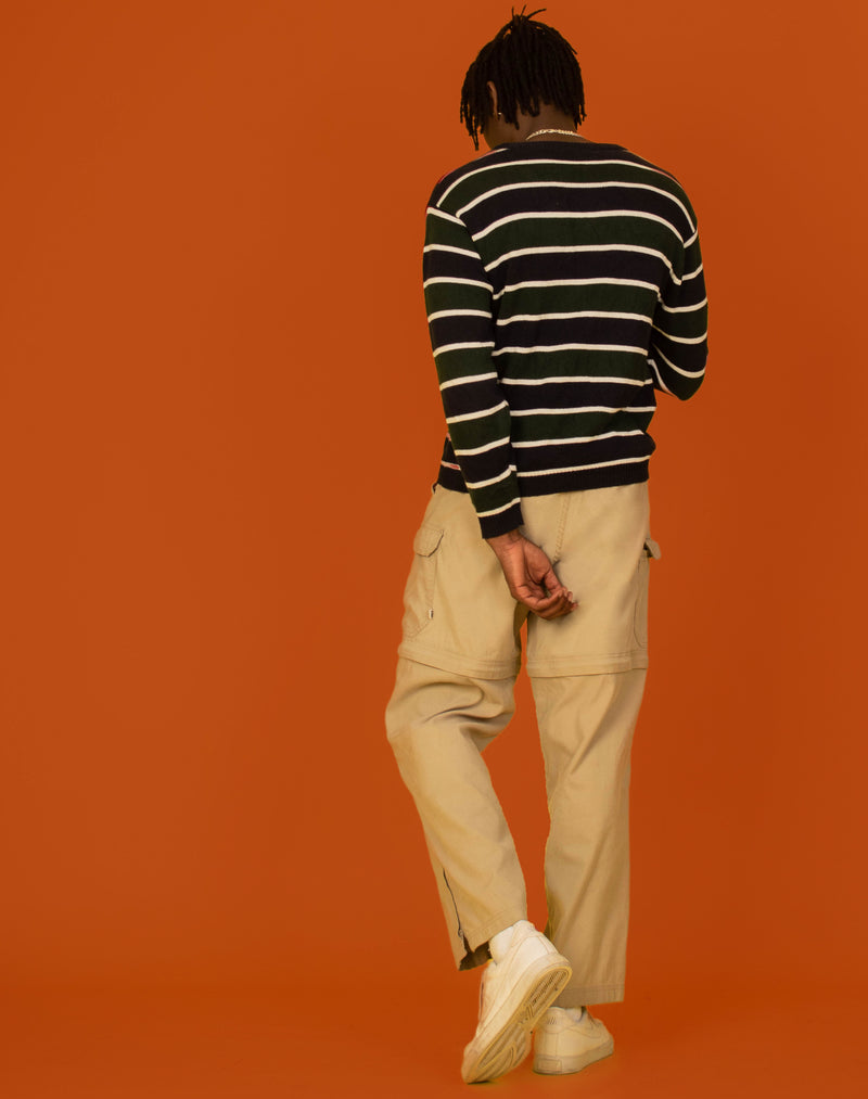 GREEN NAVY KNITTED STRIPE SWEATSHIRT