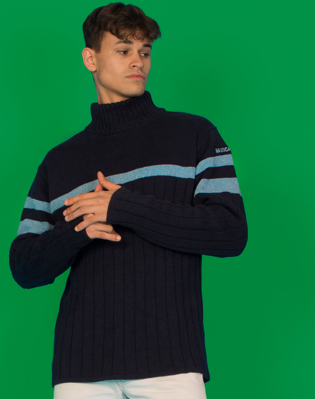 NAUTICA BLUE STRIPE TURTLENECK