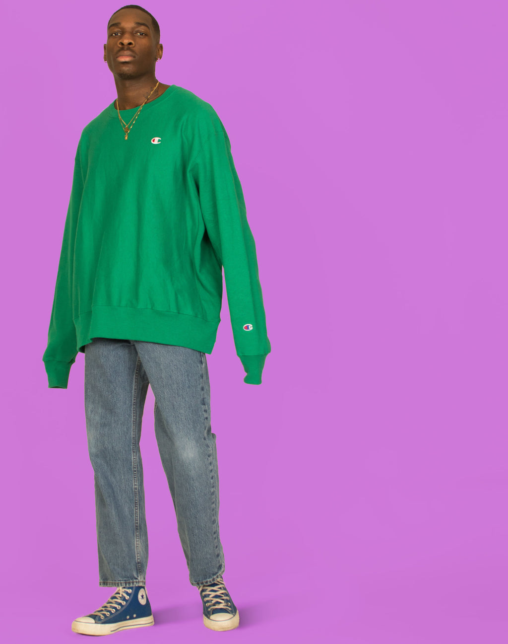 CHAMPION BRIGHT GREEN SWEATER