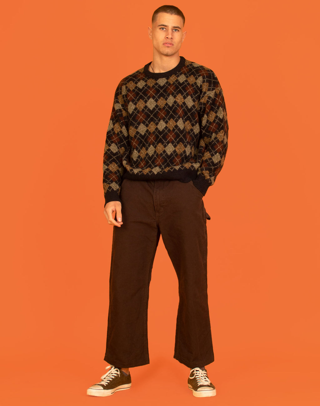 BROWN ARGYLE KNIT JUMPER