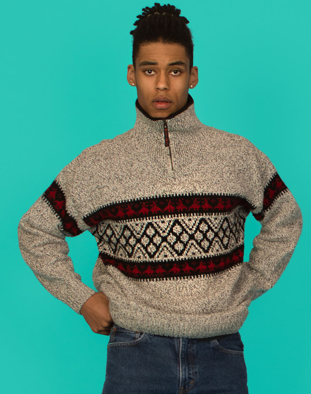 GREY FESTIVE HEAVY KNIT JUMPER